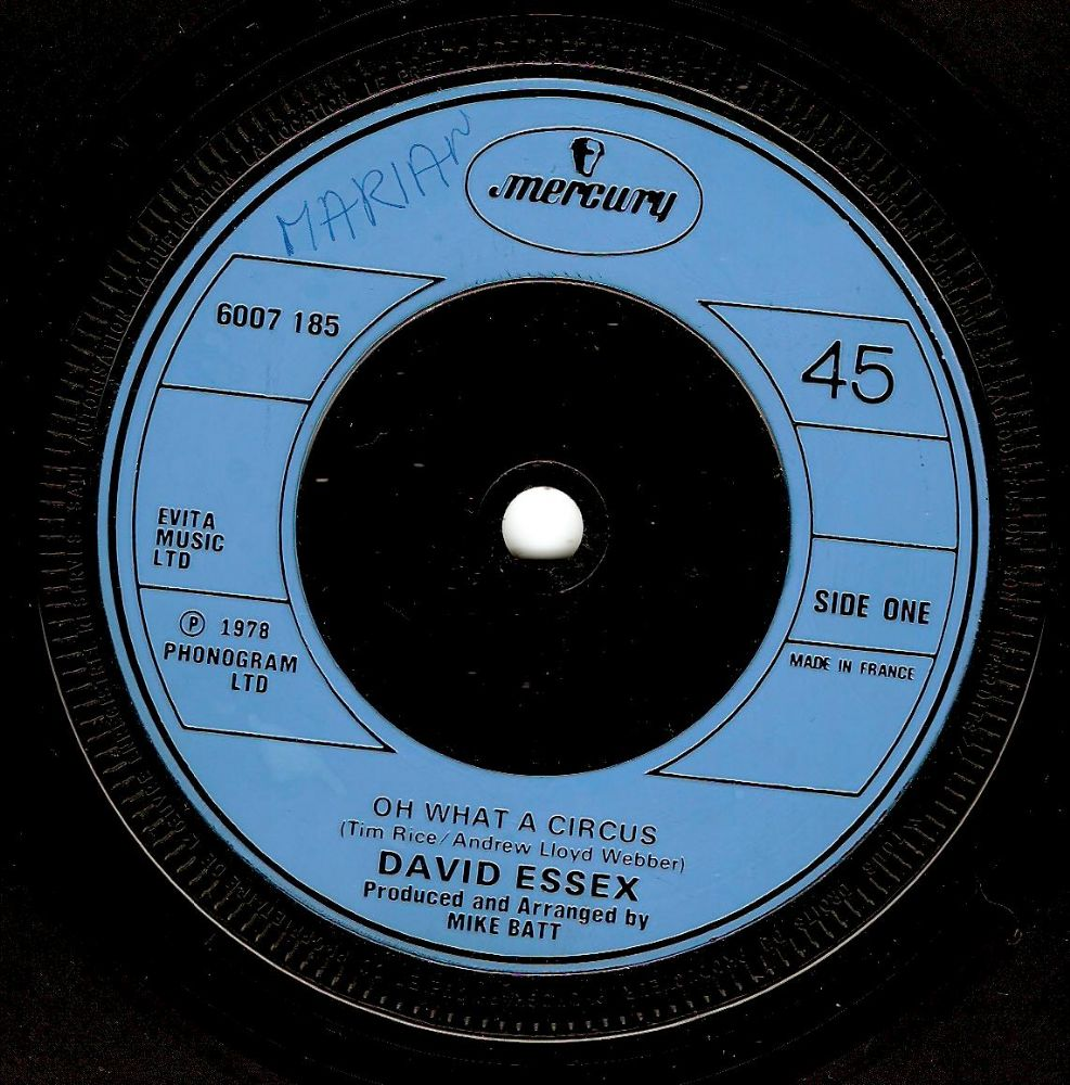 DAVID ESSEX Oh What A Circus Vinyl Record 7 Inch French Mercury 1978.